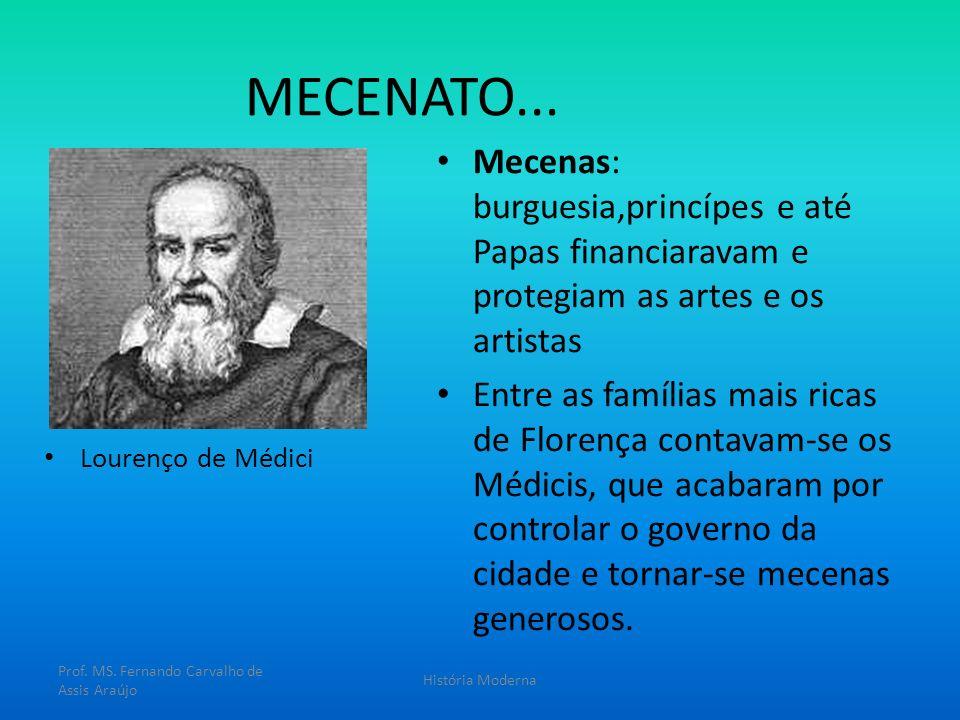 MECENATO... Mecenas: burguesia,princípes e até Papas financiaravam e protegiam as artes e os artistas Entre as famílias mais ricas de Florença contava