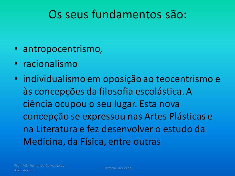 Os seus fundamentos são: antropocentrismo, racionalismo individualismo em oposição ao teocentrismo e às concepções da filosofia escolástica. A ciência