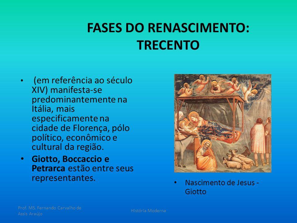 FASES DO RENASCIMENTO: TRECENTO (em referência ao século XIV) manifesta-se predominantemente na Itália, mais especificamente na cidade de Florença, pó