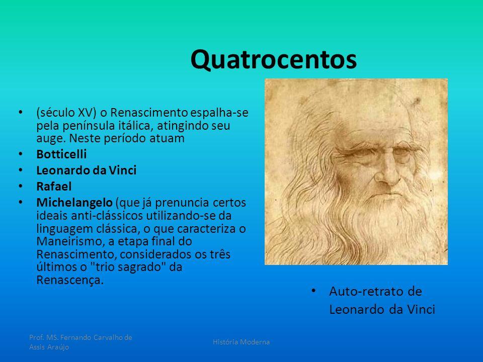Quatrocentos (século XV) o Renascimento espalha-se pela península itálica, atingindo seu auge. Neste período atuam Botticelli Leonardo da Vinci Rafael