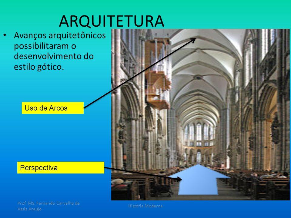 ARQUITETURA Avanços arquitetônicos possibilitaram o desenvolvimento do estilo gótico. Prof. MS. Fernando Carvalho de Assis Araújo História Moderna Uso