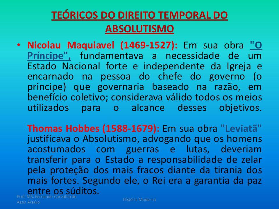 TEÓRICOS DO DIREITO TEMPORAL DO ABSOLUTISMO Nicolau Maquiavel (1469-1527): Em sua obra