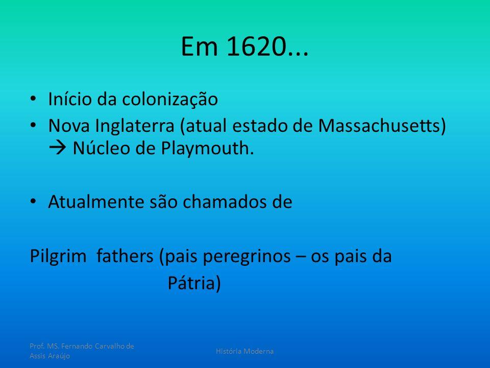 Em 1620... Início da colonização Nova Inglaterra (atual estado de Massachusetts) Núcleo de Playmouth. Atualmente são chamados de Pilgrim fathers (pais