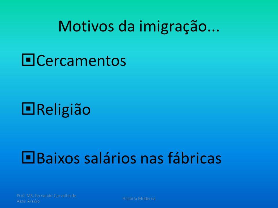 Motivos da imigração... Cercamentos Religião Baixos salários nas fábricas Prof. MS. Fernando Carvalho de Assis Araújo História Moderna