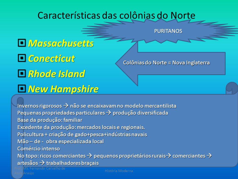 Características das colônias do Norte Massachusetts Massachusetts Conecticut Conecticut Rhode Island Rhode Island New Hampshire New Hampshire Colônias