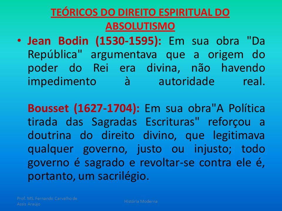 TEÓRICOS DO DIREITO ESPIRITUAL DO ABSOLUTISMO Jean Bodin (1530-1595): Em sua obra
