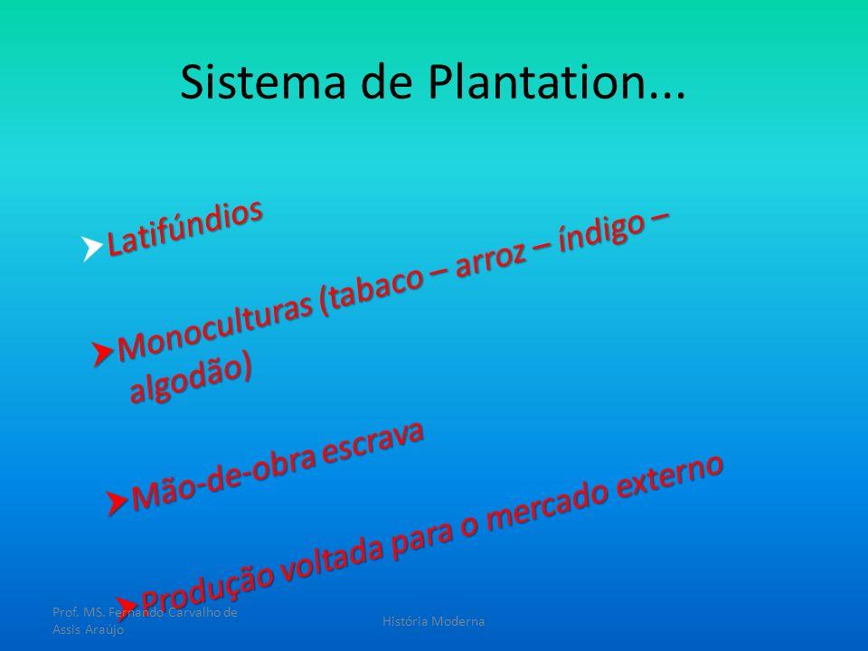 Sistema de Plantation... Prof. MS. Fernando Carvalho de Assis Araújo História Moderna