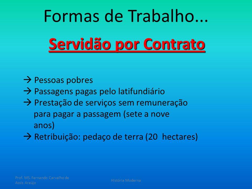 Formas de Trabalho... Servidão por Contrato Pessoas pobres Passagens pagas pelo latifundiário Prestação de serviços sem remuneração para pagar a passa