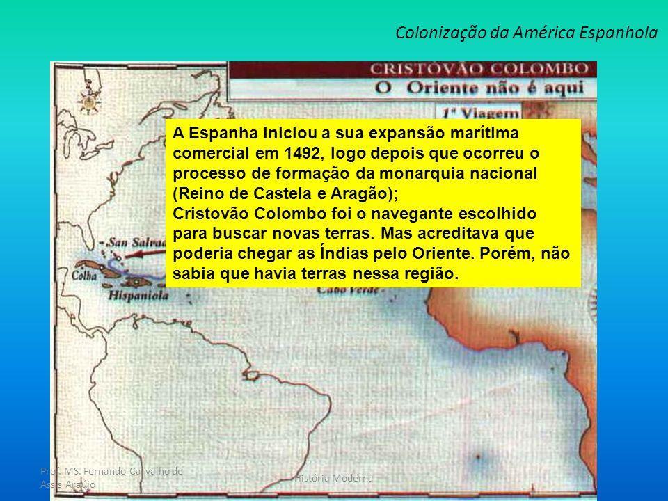 Colonização da América Espanhola Prof. MS. Fernando Carvalho de Assis Araújo História Moderna A Espanha iniciou a sua expansão marítima comercial em 1