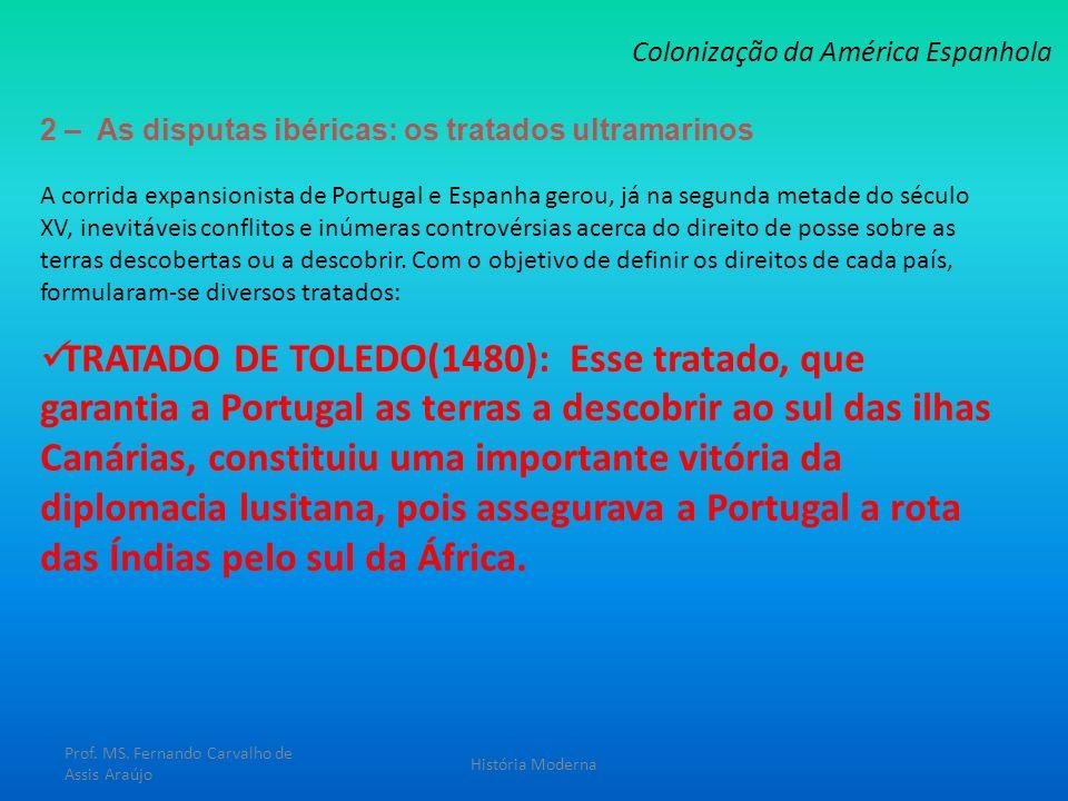 2 – As disputas ibéricas: os tratados ultramarinos Colonização da América Espanhola A corrida expansionista de Portugal e Espanha gerou, já na segunda