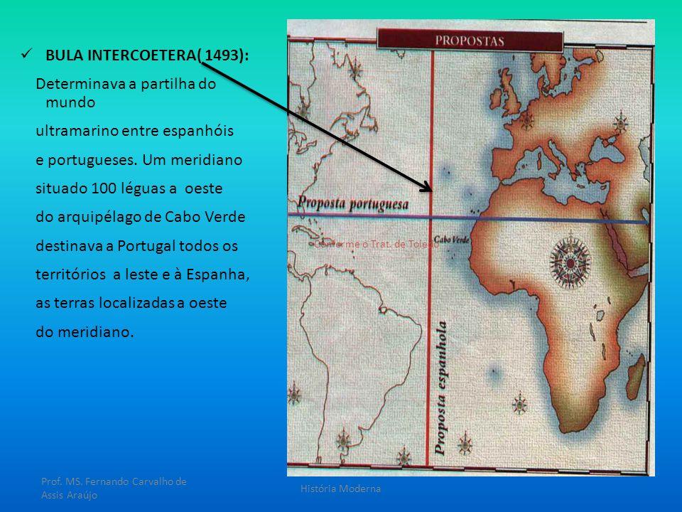 BULA INTERCOETERA( 1493): Determinava a partilha do mundo ultramarino entre espanhóis e portugueses. Um meridiano situado 100 léguas a oeste do arquip