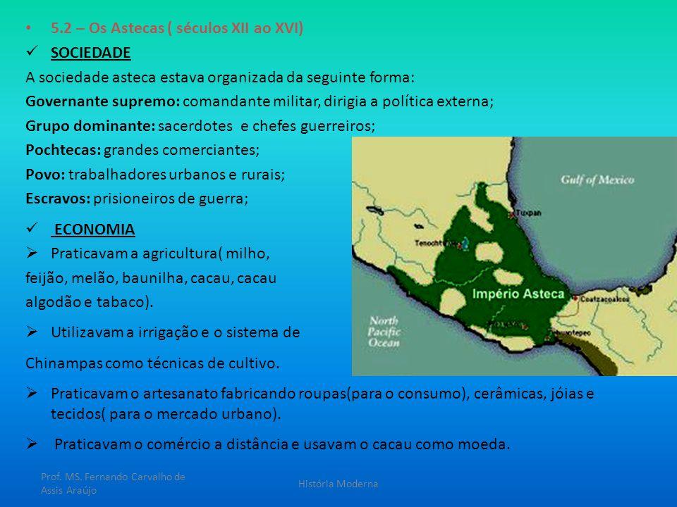 5.2 – Os Astecas ( séculos XII ao XVI) SOCIEDADE A sociedade asteca estava organizada da seguinte forma: Governante supremo: comandante militar, dirig
