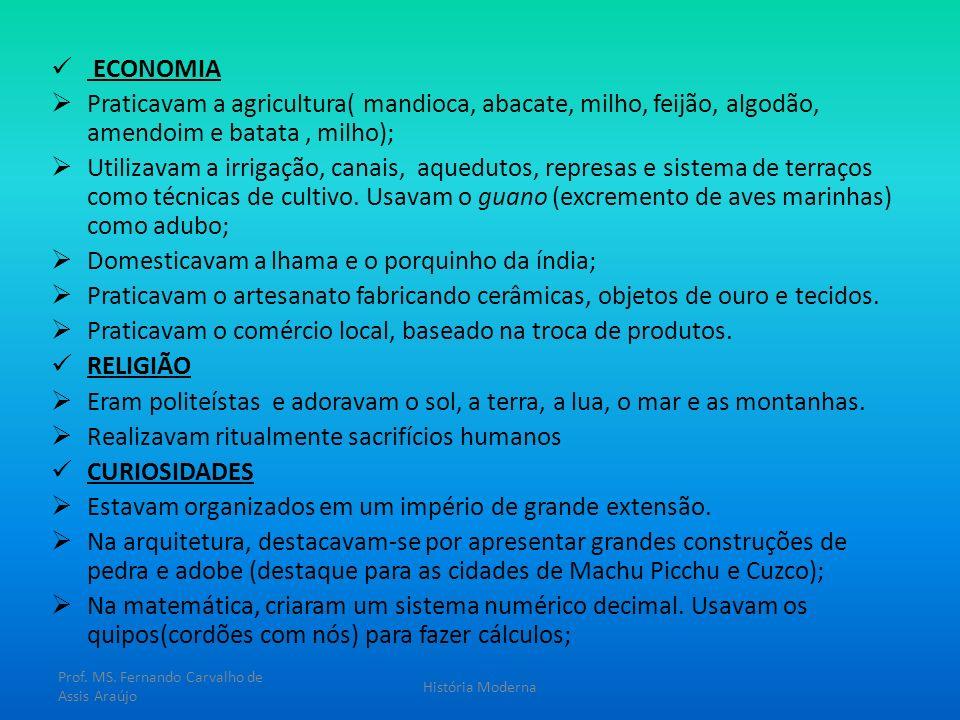 ECONOMIA Praticavam a agricultura( mandioca, abacate, milho, feijão, algodão, amendoim e batata, milho); Utilizavam a irrigação, canais, aquedutos, re