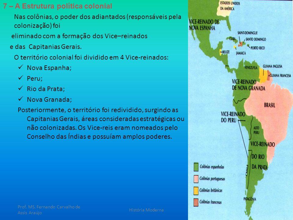 7 – A Estrutura política colonial Nas colônias, o poder dos adiantados (responsáveis pela colonização) foi eliminado com a formação dos Vice–reinados