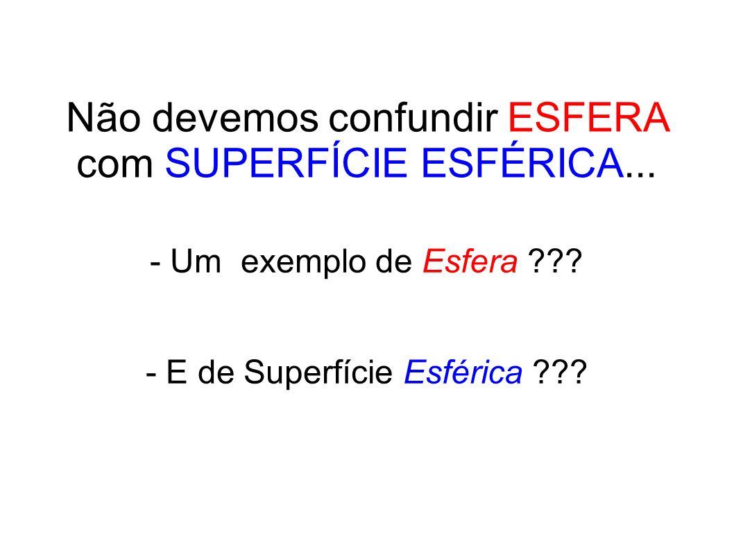 Não devemos confundir ESFERA com SUPERFÍCIE ESFÉRICA... - Um exemplo de Esfera ??? - E de Superfície Esférica ???
