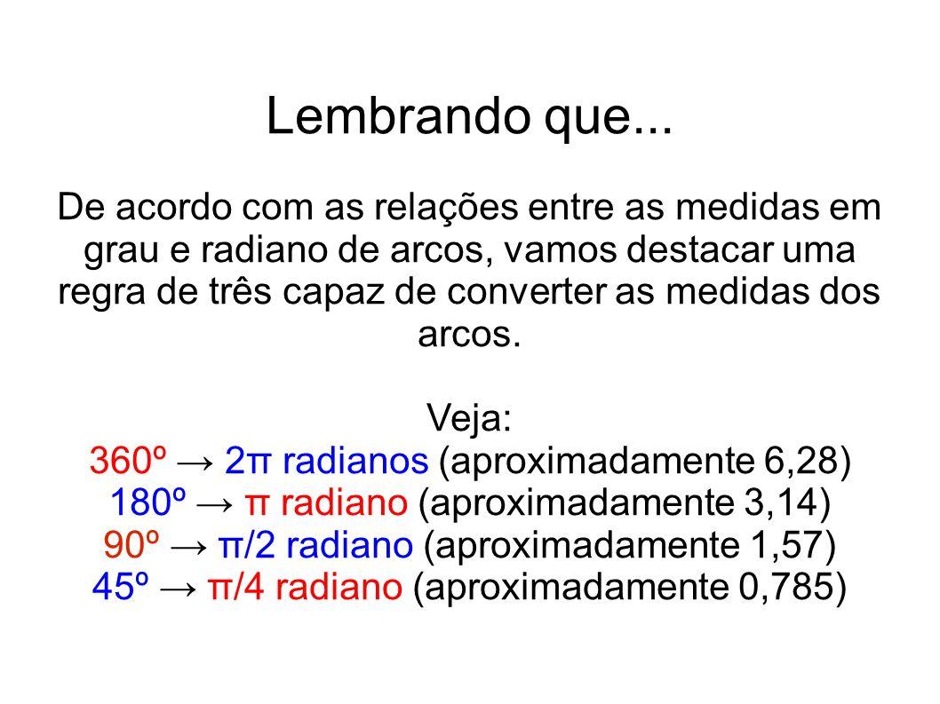 Lembrando que... De acordo com as relações entre as medidas em grau e radiano de arcos, vamos destacar uma regra de três capaz de converter as medidas