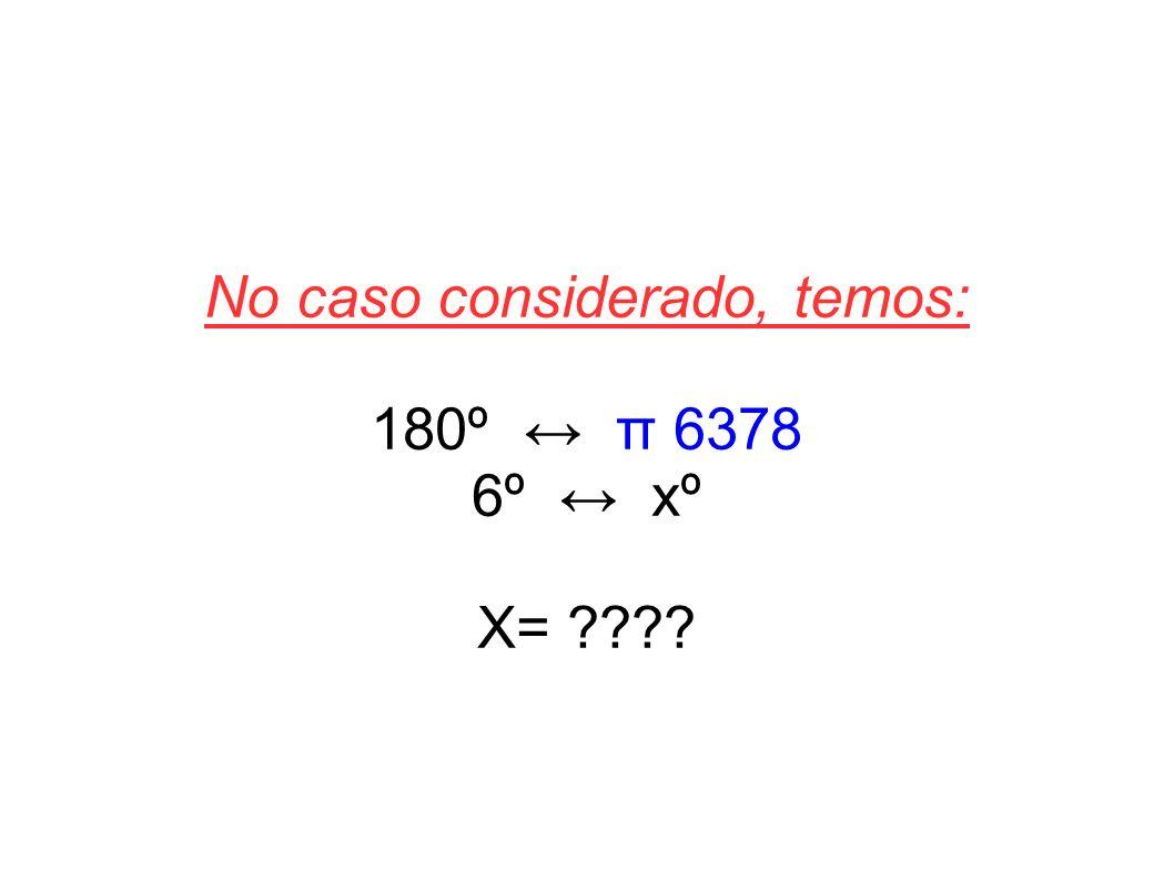 No caso considerado, temos: 180º π 6378 6º xº X= ????