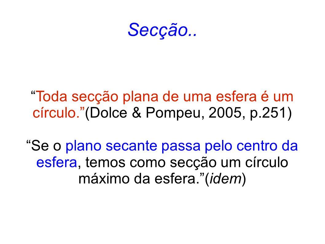 Secção.. Toda secção plana de uma esfera é um círculo.(Dolce & Pompeu, 2005, p.251) Se o plano secante passa pelo centro da esfera, temos como secção