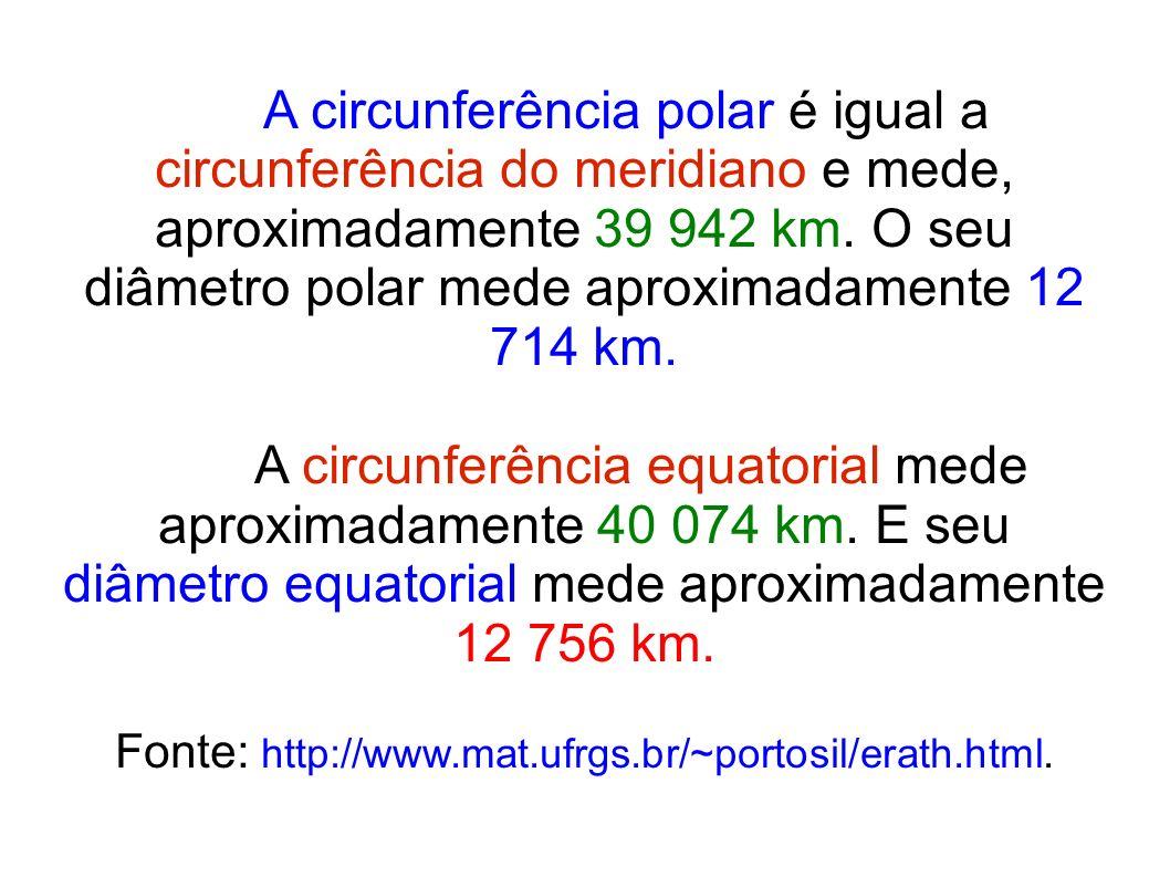 A circunferência polar é igual a circunferência do meridiano e mede, aproximadamente 39 942 km. O seu diâmetro polar mede aproximadamente 12 714 km. A