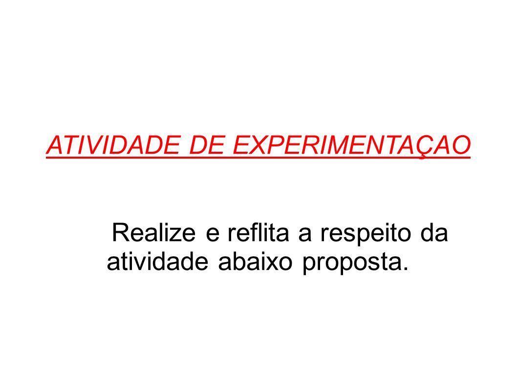 ATIVIDADE DE EXPERIMENTAÇAO Realize e reflita a respeito da atividade abaixo proposta.
