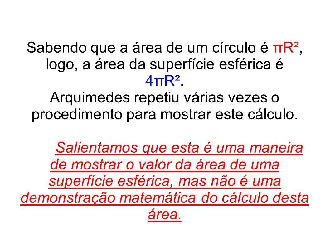 Sabendo que a área de um círculo é πR², logo, a área da superfície esférica é 4πR². Arquimedes repetiu várias vezes o procedimento para mostrar este c