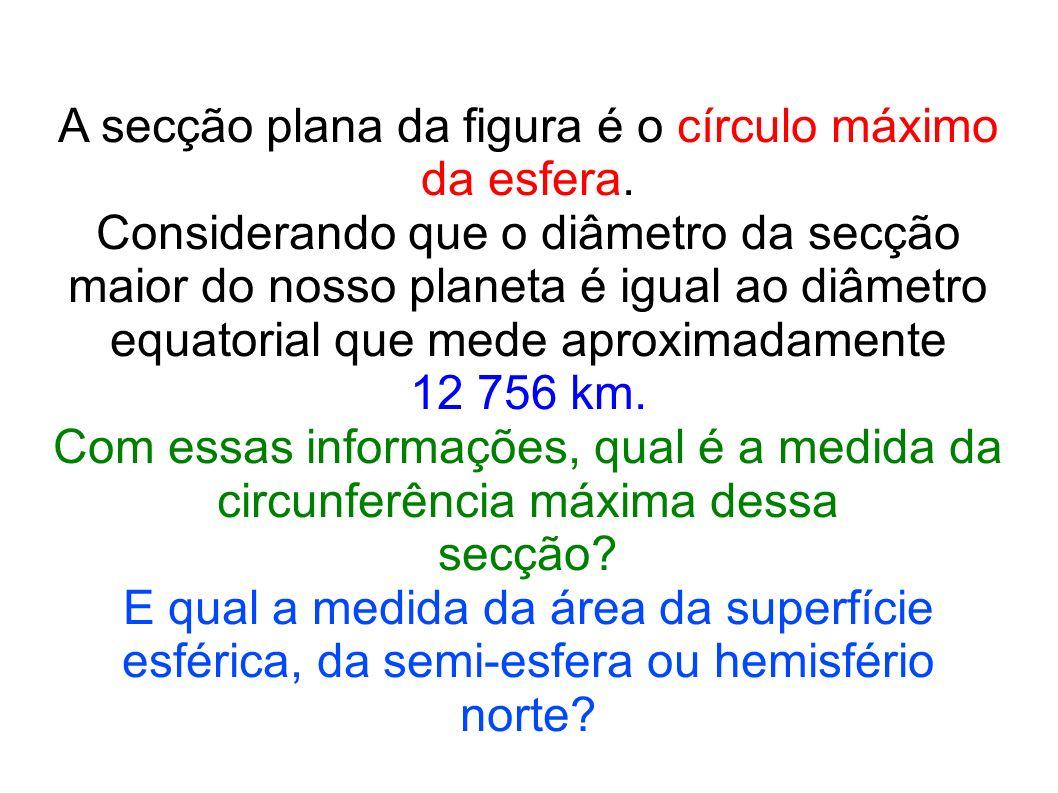 A secção plana da figura é o círculo máximo da esfera. Considerando que o diâmetro da secção maior do nosso planeta é igual ao diâmetro equatorial que