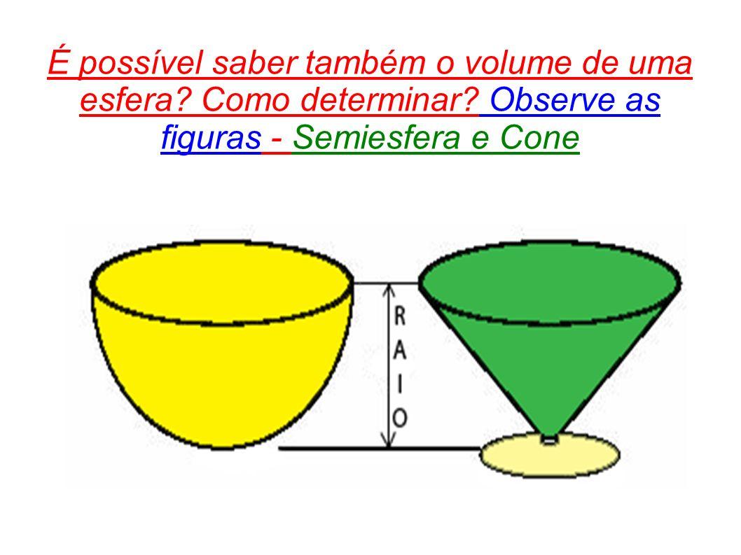 É possível saber também o volume de uma esfera? Como determinar? Observe as figuras - Semiesfera e Cone