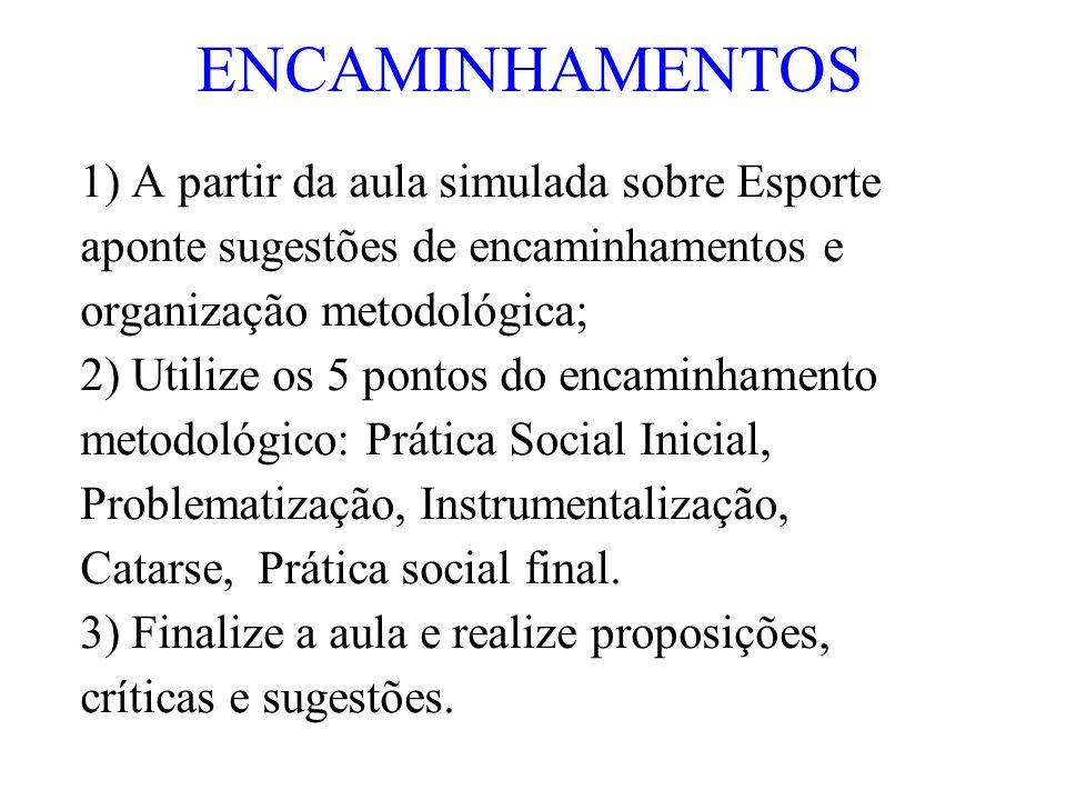 ENCAMINHAMENTOS 1) A partir da aula simulada sobre Esporte aponte sugestões de encaminhamentos e organização metodológica; 2) Utilize os 5 pontos do e