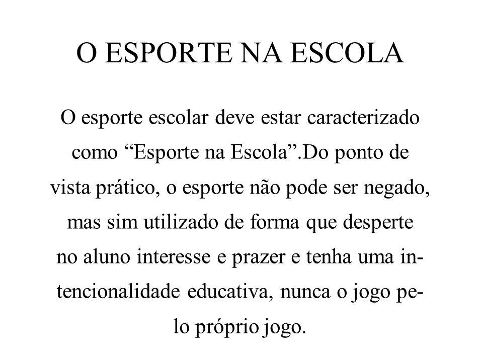 O ESPORTE NA ESCOLA O esporte escolar deve estar caracterizado como Esporte na Escola.Do ponto de vista prático, o esporte não pode ser negado, mas si