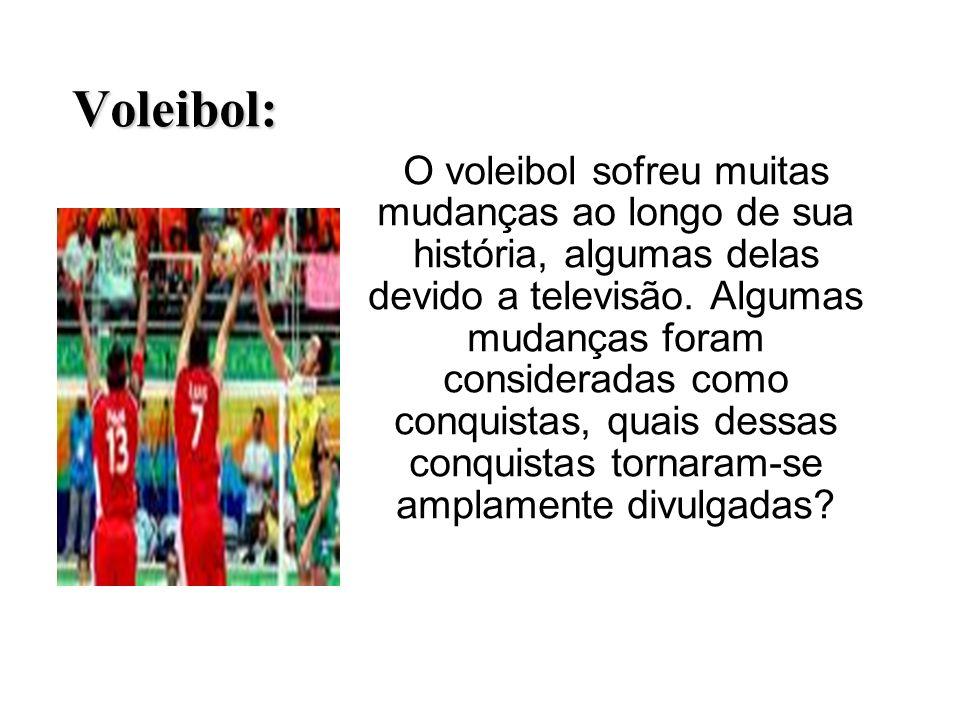 Voleibol: O voleibol sofreu muitas mudanças ao longo de sua história, algumas delas devido a televisão. Algumas mudanças foram consideradas como conqu