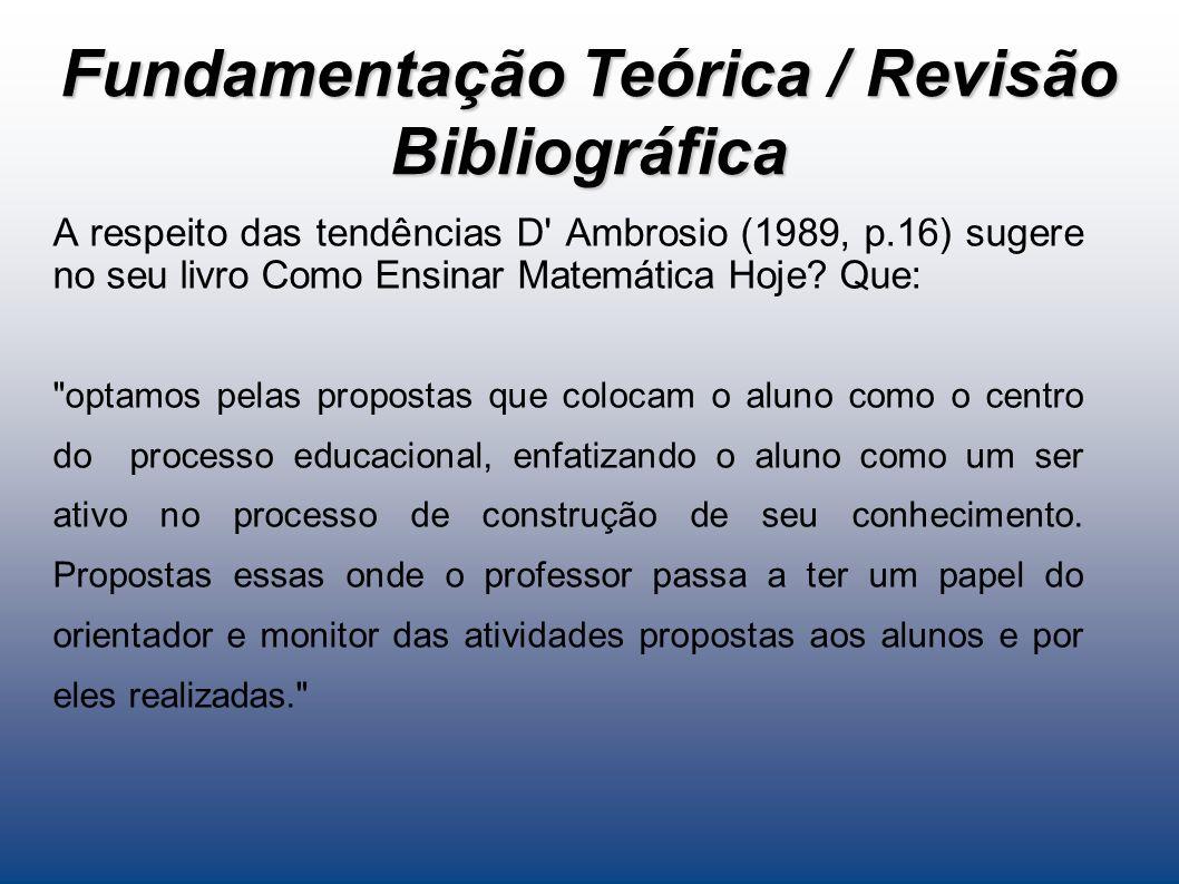 Fundamentação Teórica / Revisão Bibliográfica A respeito das tendências D Ambrosio (1989, p.16) sugere no seu livro Como Ensinar Matemática Hoje.