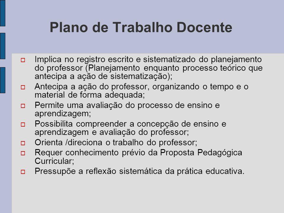 Plano de Trabalho Docente Implica no registro escrito e sistematizado do planejamento do professor (Planejamento enquanto processo teórico que antecip