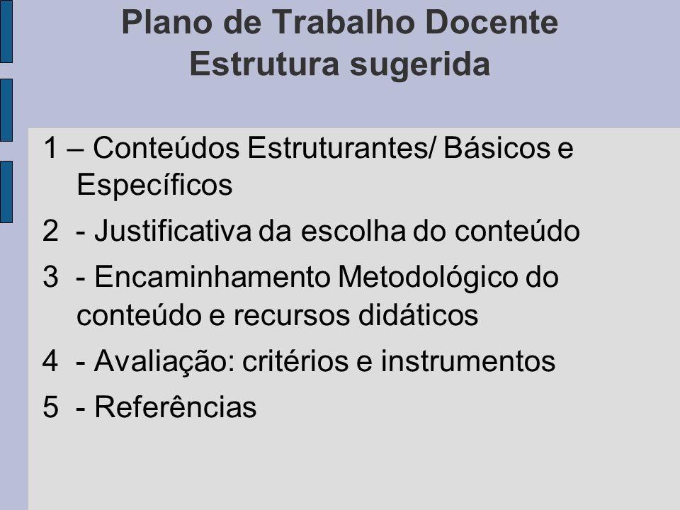 Plano de Trabalho Docente Estrutura sugerida 1 – Conteúdos Estruturantes/ Básicos e Específicos 2 - Justificativa da escolha do conteúdo 3 - Encaminha