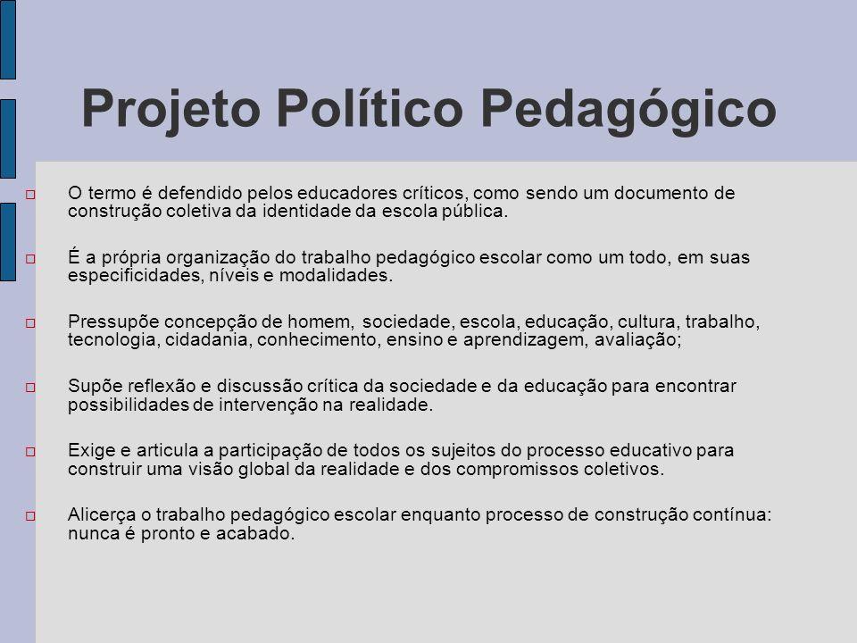 Projeto Político Pedagógico O termo é defendido pelos educadores críticos, como sendo um documento de construção coletiva da identidade da escola públ