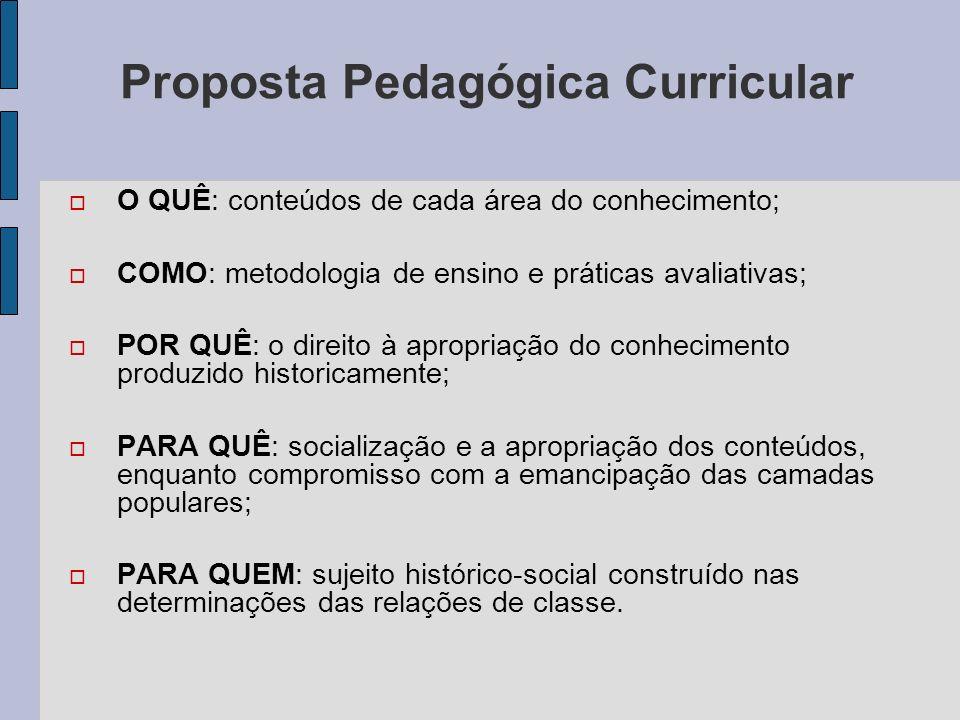 Proposta Pedagógica Curricular O QUÊ: conteúdos de cada área do conhecimento; COMO: metodologia de ensino e práticas avaliativas; POR QUÊ: o direito à