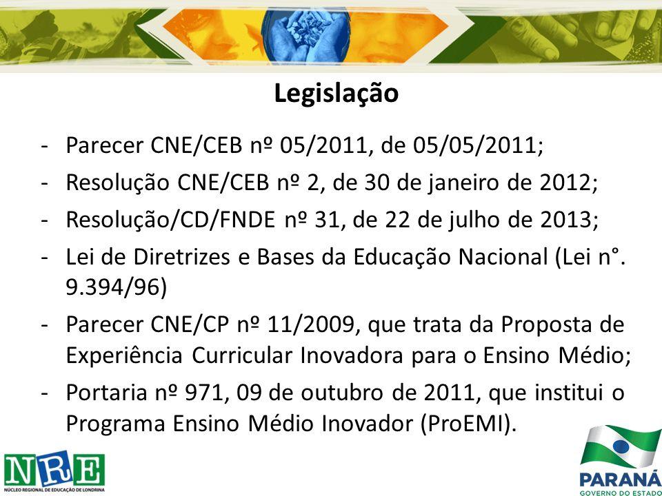 Legislação -Parecer CNE/CEB nº 05/2011, de 05/05/2011; -Resolução CNE/CEB nº 2, de 30 de janeiro de 2012; -Resolução/CD/FNDE nº 31, de 22 de julho de