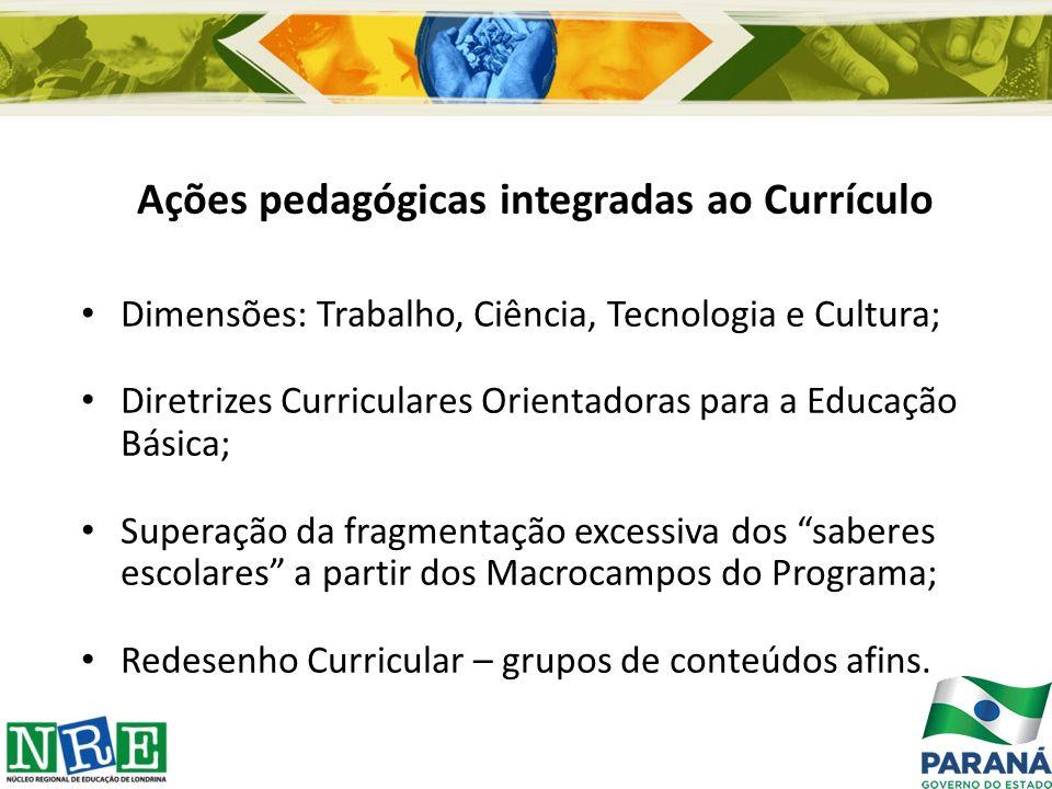 Ações pedagógicas integradas ao Currículo Dimensões: Trabalho, Ciência, Tecnologia e Cultura; Diretrizes Curriculares Orientadoras para a Educação Bás