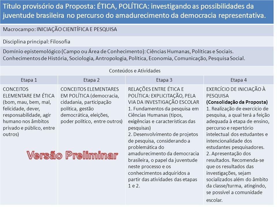 Título provisório da Proposta: ÉTICA, POLÍTICA: investigando as possibilidades da juventude brasileira no percurso do amadurecimento da democracia rep