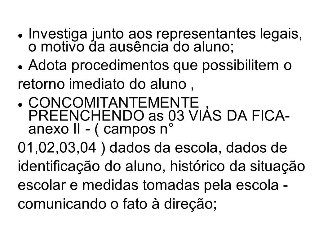 Investiga junto aos representantes legais, o motivo da ausência do aluno; Adota procedimentos que possibilitem o retorno imediato do aluno, CONCOMITAN