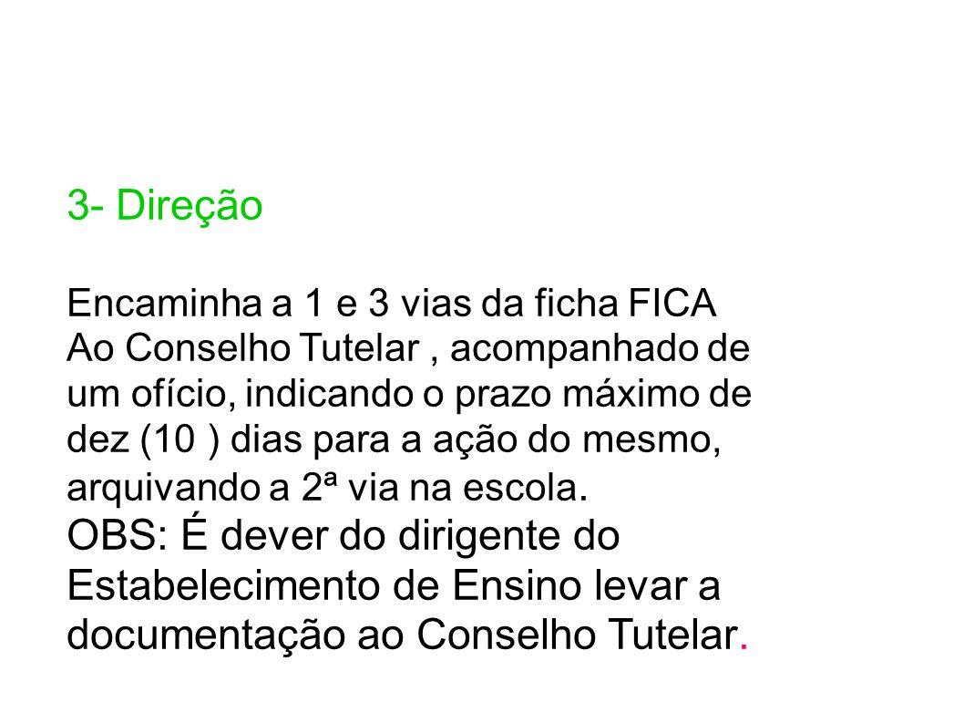 3- Direção Encaminha a 1 e 3 vias da ficha FICA Ao Conselho Tutelar, acompanhado de um ofício, indicando o prazo máximo de dez (10 ) dias para a ação