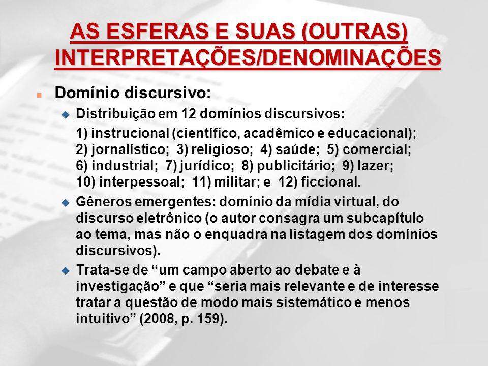 AS ESFERAS E SUAS (OUTRAS) INTERPRETAÇÕES/DENOMINAÇÕES n Domínio discursivo: u Distribuição em 12 domínios discursivos: 1) instrucional (científico, a