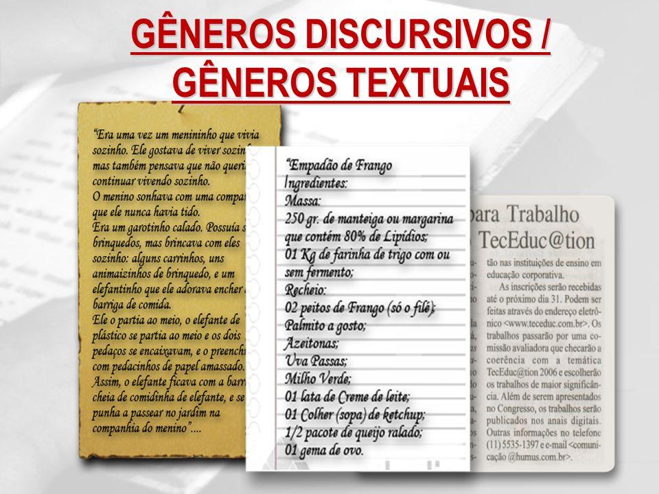 GÊNEROS DISCURSIVOS / GÊNEROS TEXTUAIS