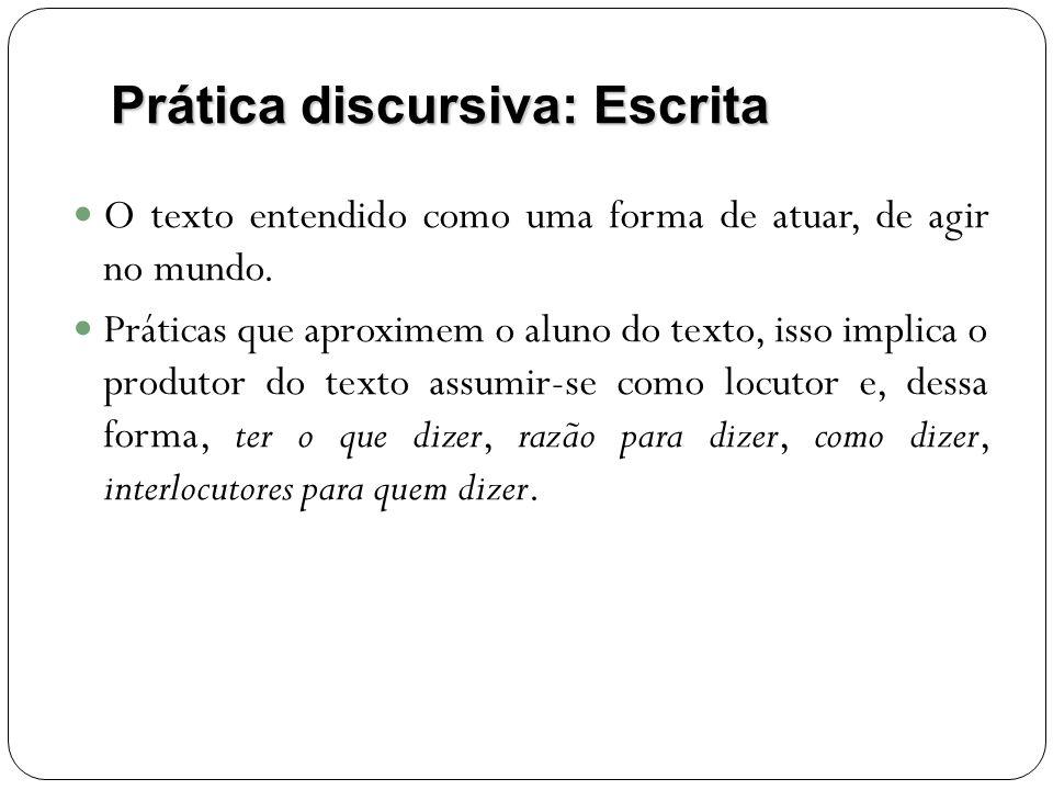 Prática discursiva: Escrita O texto entendido como uma forma de atuar, de agir no mundo. Práticas que aproximem o aluno do texto, isso implica o produ
