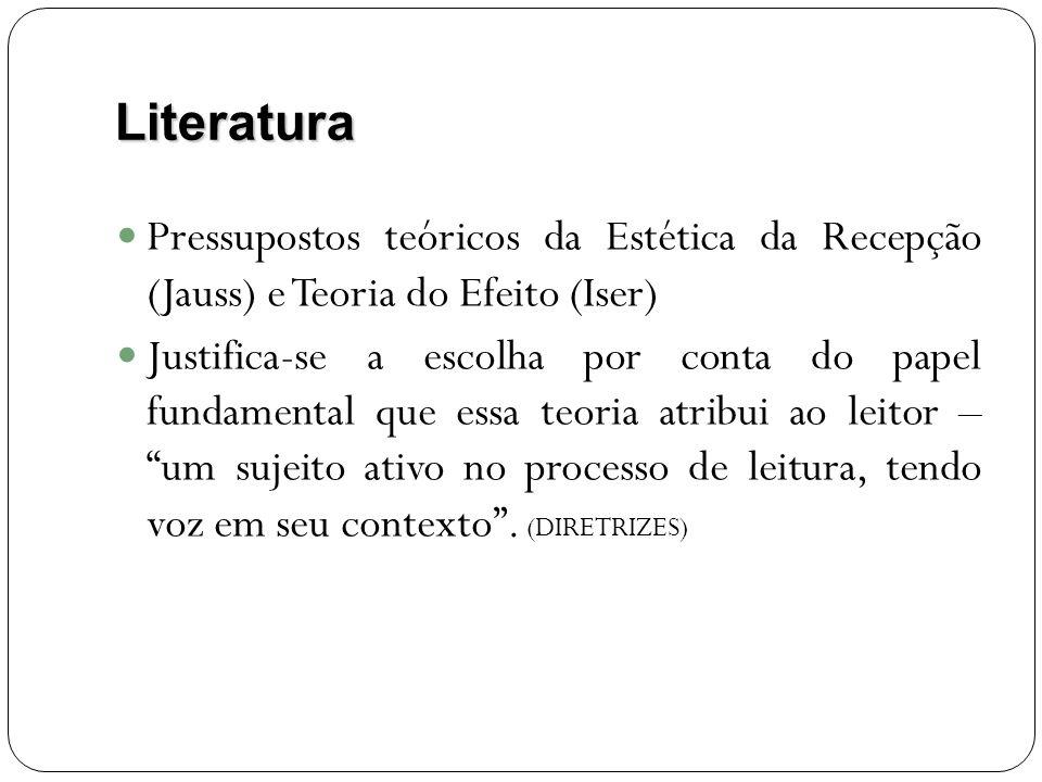 Literatura Pressupostos teóricos da Estética da Recepção (Jauss) e Teoria do Efeito (Iser) Justifica-se a escolha por conta do papel fundamental que essa teoria atribui ao leitor – um sujeito ativo no processo de leitura, tendo voz em seu contexto.