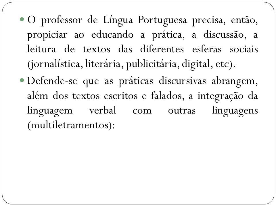 O professor de Língua Portuguesa precisa, então, propiciar ao educando a prática, a discussão, a leitura de textos das diferentes esferas sociais (jor