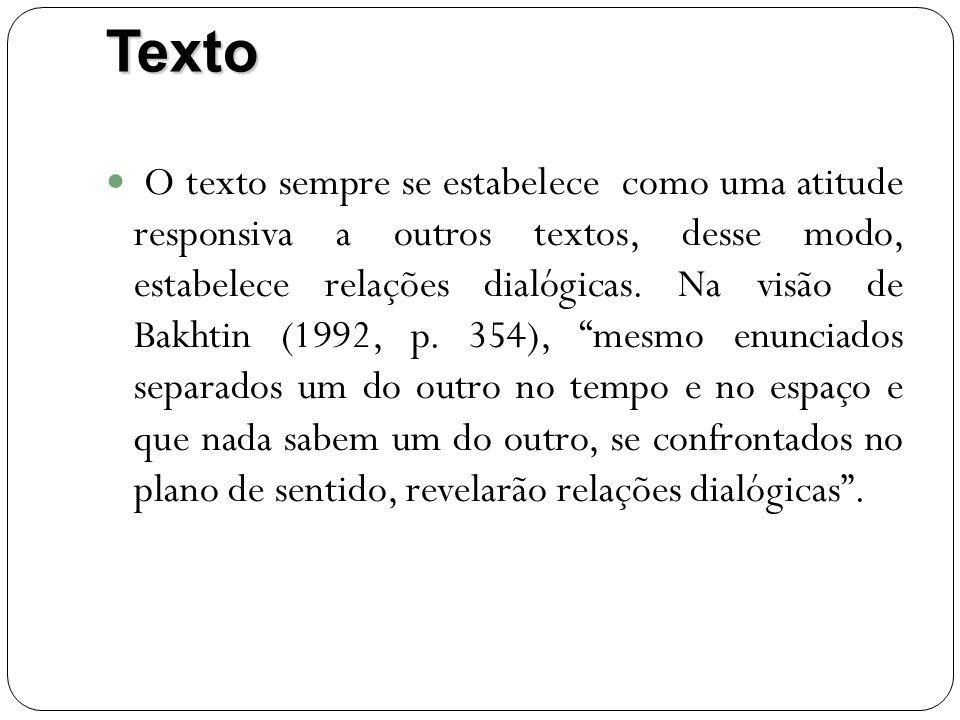 Texto O texto sempre se estabelece como uma atitude responsiva a outros textos, desse modo, estabelece relações dialógicas. Na visão de Bakhtin (1992,