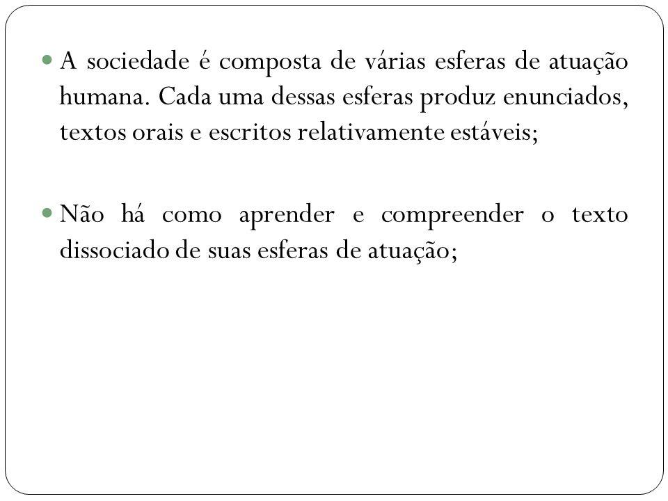 A sociedade é composta de várias esferas de atuação humana.