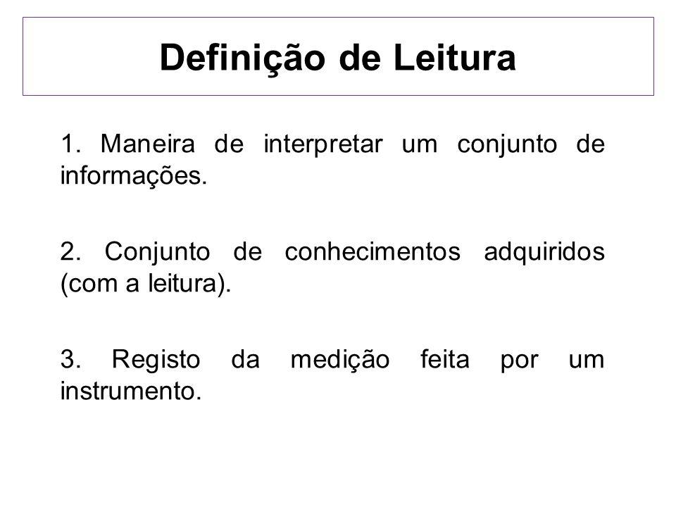 Definição de Leitura 1. Maneira de interpretar um conjunto de informações. 2. Conjunto de conhecimentos adquiridos (com a leitura). 3. Registo da medi