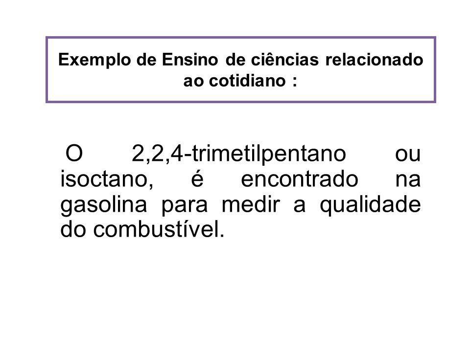 Exemplo de Ensino de ciências relacionado ao cotidiano : O 2,2,4-trimetilpentano ou isoctano, é encontrado na gasolina para medir a qualidade do combu