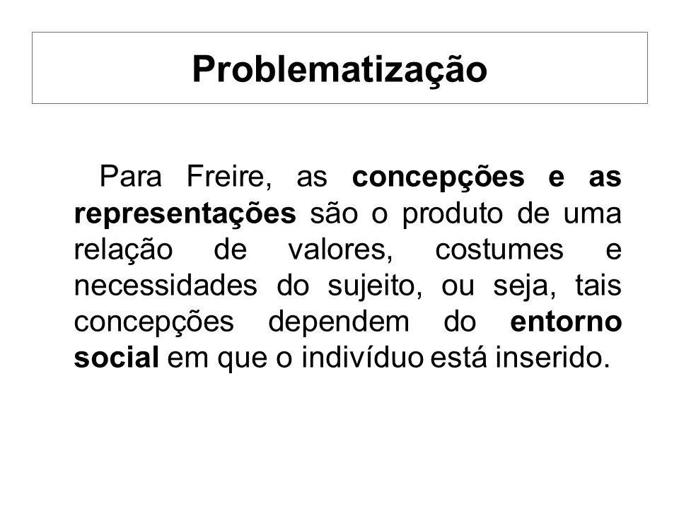 Para Freire, as concepções e as representações são o produto de uma relação de valores, costumes e necessidades do sujeito, ou seja, tais concepções d